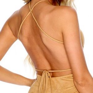abora Dresses - BOGO🆓Suede-like mini backless strap halter dress